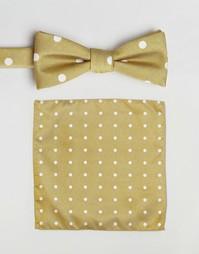 Галстук-бабочка и платок для пиджака Selected Homme - Желтый