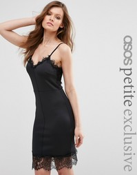Платье-сорочка с кружевной отделкой ASOS PETITE Sexy - Черный