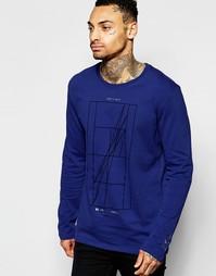 Темно-синяя футболка с длинными рукавами и принтом Nike 777873-455