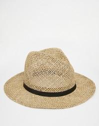 Соломенная шляпа с лентой из искусственной кожи ASOS - Естественный