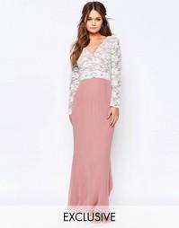 Платье макси с кружевным лифом и отделкой на талии Elise Ryan