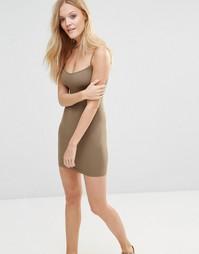 Бесшовное мини платье-сорочка Free People - Мох