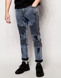 Байкерские джинсы с потертостями Systvm Nickel Pale - Синий