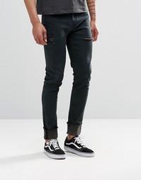 Черные выбеленные джинсы скинни с прорехами и отворотами ASOS