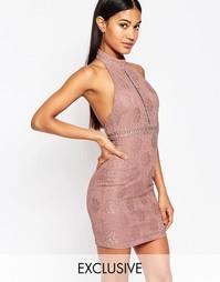 Кружевное платье-футляр с высокой горловиной NaaNaa
