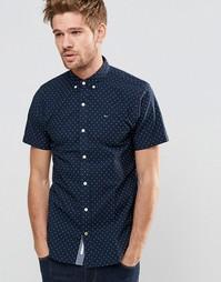 Эластичная зауженная рубашка с принтом и короткими рукавами Hilfiger D