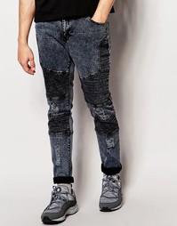 Байкерские джинсы с потертостями Systvm Nickel Noir - Черный