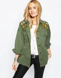 Куртка с зеркальной вышивкой ASOS Premium Festival - Хаки