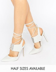 Туфли на каблуке с заостренным носком и шнуровкой ASOS PATROL - Белый