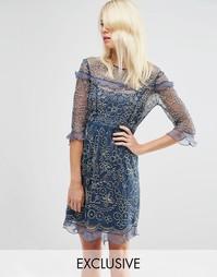 Цельнокройное платье с бабочками Needle & Thread - Выбеленный индиго
