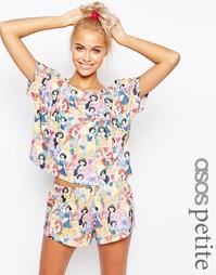 Пижамный комплект с шортами и футболкой с диснеевским принтом ASOS PET