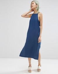 Фактурное джинсовое платье миди ASOS Premium - Темная стираная ткань