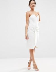 Асимметричное платье‑бандо миди ASOS - Белый