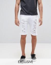 Белые рваные джинсовые шорты слим Liquor & Poker - Белый