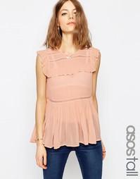 Блузка без рукавов с оборками в несколько рядов и кружевными вставками Asos Tall