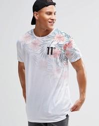 Футболка с тропическим цветочным принтом 11 Degrees - Белый