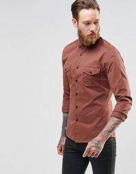 Рубашка в стиле милитари суперзауженного кроя с длинными рукавами ASOS