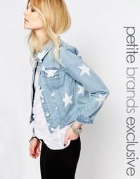 Джинсовая куртка с принтом звезд Noisy May Petite - Светло-голубой