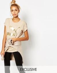 Oversize-футболка бойфренда с логотипом Puma - Серый кристалл