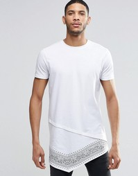 Супердлинная футболка с асимметричным краем ASOS - Белый
