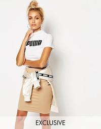 Укороченная футболка с высоким воротом Puma - Белая пума
