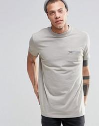 Серая длинная фактурная футболка в стиле милитари с карманом ASOS