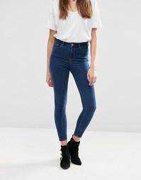 Синие укороченные джинсы скинни с завышенной талией ASOS Ridley