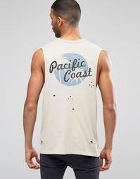 Рубашка без рукавов с принтом на спине и эффектом поношенности ASOS
