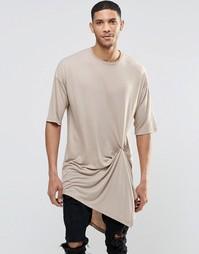 Супер длинная бежевая футболка с асимметричной кромкой на кнопке ASOS