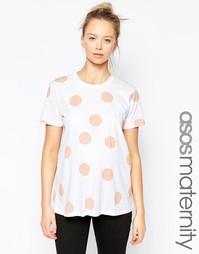 Розовая футболка для беременных в горошек ASOS Maternity