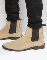 Замшевые ботинки челси со вспомогательной петлей сзади ASOS - Stone