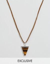 Кожаное ожерелье с подвеской тигровый глаз Reclaimed Vintage