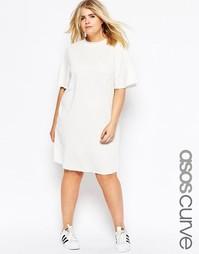 Легкое трикотажное платье с короткими рукавами ASOS CURVE - Кремовый