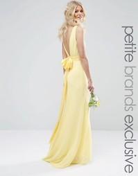 Свадебное платье макси с сатиновым бантом сзади TFNC Petite - Лимонный