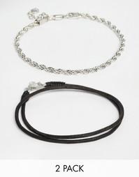 Набор из 2 черных браслетов на щиколотку ASOS - Черный