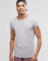 Меланжевая футболка Jack & Jones Premium - Светло-серый меланж