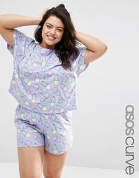 Пижамный комплект с футболкой и шортами с принтом кактусов ASOS CURVE