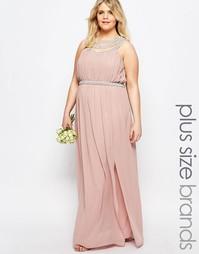 Платье макси размера плюс с отделкой в несколько рядов TFNC Plus WEDDI