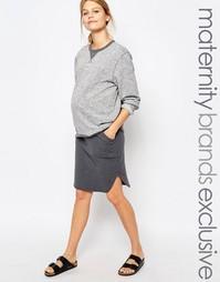 Трикотажная юбка миди Bluebelle Maternity - Серый