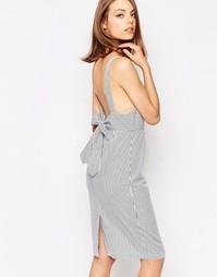 Платье в полоску с бантом сзади Lost Ink - Мульти