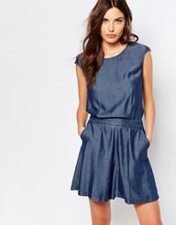 Комбинезон из ткани шамбре с открытой спиной Sisley - 902 синий