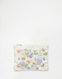 Клатч цвета металлик с цветочной отделкой ASOS - Мульти
