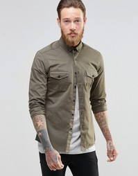 Рубашка скинни в стиле милитари с длинными рукавами ASOS - Хаки