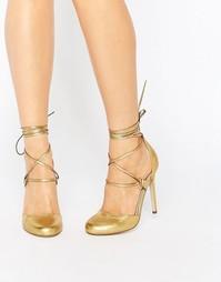 Туфли на высоком каблуке со шнуровкой ASOS PERSEVERE - Золотой