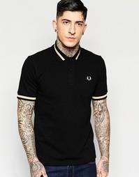 Черная футболка-поло классического кроя с контрастной отделкой Fred Pe
