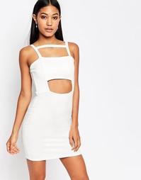 Облегающее платье с вырезом Boohoo - Белый