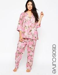 Пижамный комплект на пуговицах с винтажным принтом ASOS CURVE