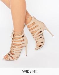 Сандалии на каблуке и шнуровке для широкой стопы ASOS HARPER