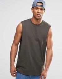 Свободная футболка без рукавов цвета хаки ASOS - Хаки
