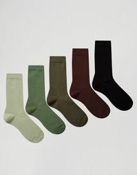 Набор из 5 пар носков цвета хаки ASOS - Зеленый